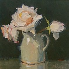 Last Nights Roses by Nancy Franke Oil ~ 8 x 8