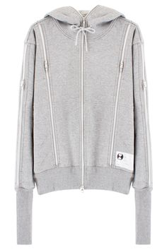 ZIPPER HOODIE 100% COTTON GRAY ZIPPERS ON FRONT, BACK & SLEEVES WHITE LOGO PATCH DRAWSTRING  Ultra practical urban survival wear by Tsumura Kosuke of Issey Miyake.