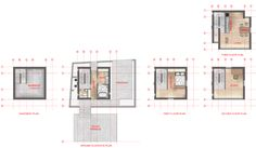 Rendered floor plans of Tadao Ando's 4X4 house Drawn by Zion Abraham