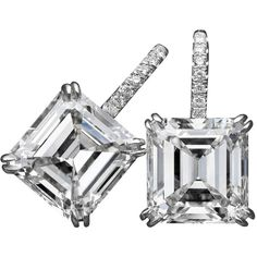 Tremendous Asscher-cut Gia Cert Diamond Platinum Earrings ($250,000) ❤ liked on Polyvore featuring jewelry, earrings, multiple, platinum jewelry, handcrafted jewelry, asscher cut earrings, square diamond earrings and diamond fine jewelry