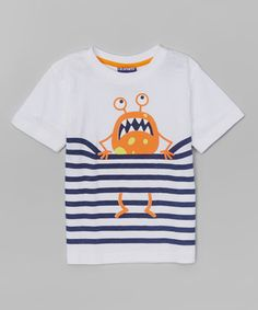 Love this White Stripe Monster Tee - infant, Toddler & Boys on #zulily! #zulilyfinds