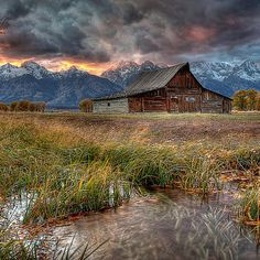"""Teton Nightfire"" - Fine art photography of Moulton Barn in Wyoming. Beautiful Landscape Photography, Abstract Photography, Artistic Photography, Beautiful Landscapes, Photography Ideas, Scenic Photography, Aerial Photography, Night Photography, Beautiful Images"