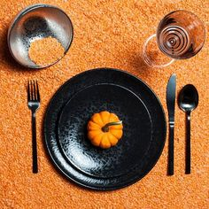 """Enhance your festivities with the """"Alchimie"""" collection by L'Objet; A one-of-a-kind dinnerware crafted from fine earthenware and coated with a reactive finish, creating a mysterious yet luxurious texture. Available in our online shop and in-store. #Halloween #Fall #Orange #Black #LObjet #SaintLouisCrystal #Crystal #Glassware #Tabletop #Dinnerware #Design #Style #Texture #Pattern #Colourful #YVR #Vancouver #Luxury #Quality #SouthGranville #Foodie #FeastFashionably #HomeDecor #InteriorDesign"""