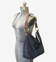 windsor. Hobo Bag Suede Dark Grey Bag (£369) ❤ liked on Polyvore ...