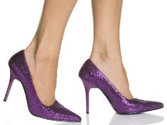 The Highest Heel Shoes Classic Purple Glitter Purple shoes with glittery texture which spreads sparkles whenever they move, pointed toe which thin the foot and chic 4 inch (10 cm) high stiletto heels in tone-to-tone purple. The classic court desi http://www.MightGet.com/january-2017-12/the-highest-heel-shoes-classic-purple-glitter.asp