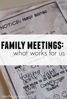 Feel like your family is going a million miles in different directions? Try this FREE family meeting printable to help your family gather together in one place at one time and get on the same page! #teachmama #family #raisingkids #freeprintable #printables #howto #resource #parents #parenting #life