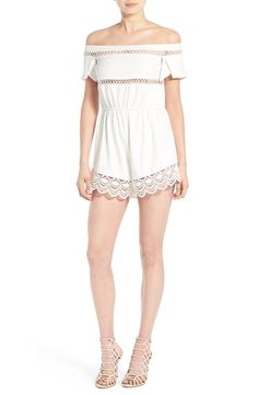 Simply adoring this lace trim crepe romper from Missguided that sits off the shoulders. Pair with bright accessories for a fun, complete look.