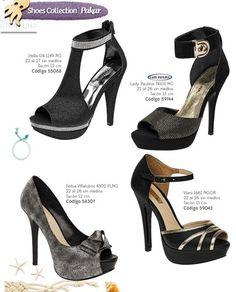 Zapato negro para fiesta. Tacones con plataforma para mujer. Coleccion Pakar 2016