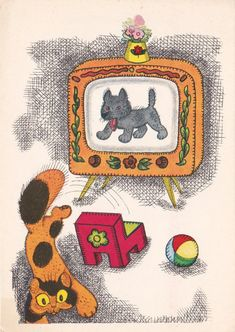 Postcard Drawing by Golubev (Unexciting TV Show) - 1967,
