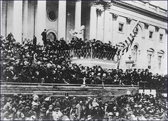 "President Abraham Lincoln delivered his famous second inaugural address, March 4, 1865, near the end of the Civil War – ""With malice towards none, and charity for all . . . to do all which may achieve and cherish a just and lasting peace."" Library of Congress."