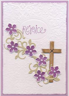 2015-040 Easter - STAMPS: SU Petite Petals, Studio G sentiment; DIE: SB Foliage Flourish; EFs: Darice Damask Background, SU Designer Frames; PUNCH: SU Petite Petals; SILHOUETTE: Cross Basic Wooden; OTHER: Viva Decor Perlen-Pen
