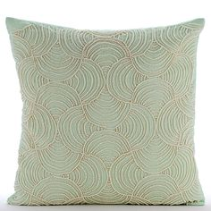 Mint Dynasty - Pearls Embroidered Green Linen Throw Pillow.