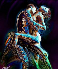 soulmates-twinflames:  My soul is poured into yours and is blended.~Rumi www.twinflameconnection.com art: Hm Samarel