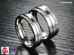 Free Engraving 2pcs Crystal diamond titanium couple rings, lovers promise ring.