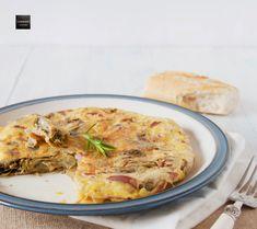 Tortilla de alcachofas con jamón Omelet, Tortillas, Quiche, Pizza, Eggs, Breakfast, Health, Food, Sausages