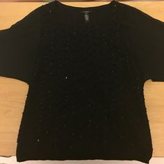 Alfani black sequined boat sleeve top Black top with sequins on front and back, see through arms XS #d63 Alfani Tops