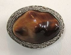 Chinese Export Silver Filigree Tiger Eye Pin Brooch by COBAYLEY