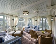Sleeping porch of an oceanside home in Seaside, Florida. Robert A.M. Stern Architects.
