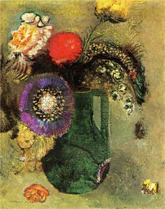 Odilon Redon (French: 1840–1916), [Post-impressionism, Symbolism] Flowers in Green Vase with Handles, 1905.