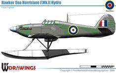 Hawker Hurricane Mk.II Hydro Navy Aircraft, Ww2 Aircraft, Fighter Aircraft, Military Aircraft, Fighter Jets, Hawker Typhoon, Lancaster Bomber, Hawker Hurricane, Flying Boat