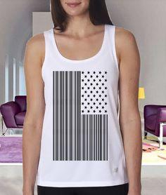 Bar Coded USA clothing tank tanktop custom Women by Gloriia, $20.00