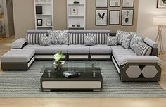 Source Factory wholesale fabric U shaped sectional sofa, modern European style w. Source Factory w Living Room Sofa Design, Living Room Designs, L Corner Sofa Design, Living Room Sofa Sets, Furniture Sofa Set, Living Room Furniture, Outdoor Furniture, U Shaped Sectional Sofa, Modern Sectional