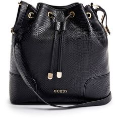 GUESS Faux-Leather Bucket Bag (€100) ❤ liked on Polyvore featuring bags, handbags, shoulder bags, black, shoulder strap bag, guess shoulder bag, vegan handbags, faux leather purse and imitation purses
