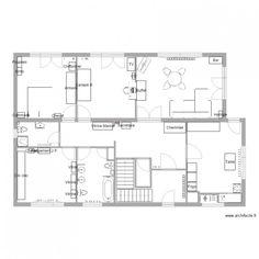 Rez de chaussée Meublé plus et cotations. Plan de 4 pièces et 84 m2