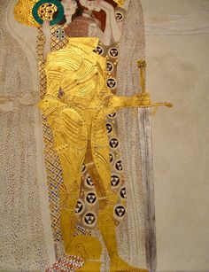 Beethoven Frieze: Yearning for Happiness (detail), 1902.  For a long time, Klimt had been seeking an answer to the ultimate questions of human existence. Klimt had found the way to a Utopian vision on a grand scale, which was shared by the other Secessionists: the salvation of mankind through the unique power of art and of love.