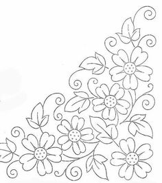 Colour it, sew it, trace it, etc. borders flower embroidery or redwork Embroidery Flowers Pattern, Hand Embroidery Designs, Ribbon Embroidery, Flower Patterns, Cross Stitch Embroidery, Machine Embroidery, Beginner Embroidery, Mexican Embroidery, Vintage Embroidery