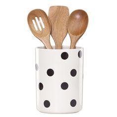 KATE SPADE NEW YORK Utensil Crock With 3 Wooden Utensils