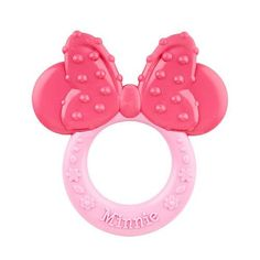 Soothe your little mouseketeer with this Minnie Mouse-themed ring-shaped teether.  The ring is just the right size for little hands and the ears and bow feature different textures to help soothe sore gums. Teether can be placed in the refrigerator to make it cool, but freezing is not recommended.
