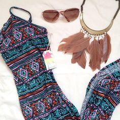 """Tribal Maxi Dress Adjustable straps. 27"""" slit on the left side. Brand new tags attached. Perfect for summer! Dresses Maxi"""