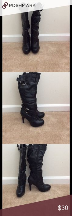 Black heel boots Brand new 4inch heel boots!!! Shoes Heeled Boots