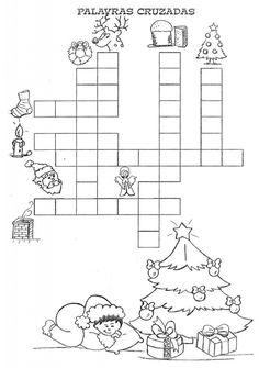 palavra cruzada natalina Christmas Cards Drawing, Christmas Paper, Xmas, Christmas Material, Christmas Activities, Diy And Crafts, Diagram, Clip Art, School