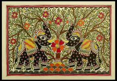 Madhubani painting, 'Royal Roar' by NOVICA