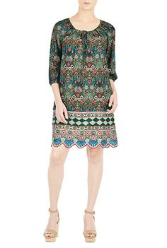 I <3 this Embellished scallop graphic print tunic from eShakti