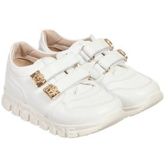 Young Versace - White Leather Velcro Trainers with Gold Medusas | Childrensalon