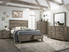"4 pc A & j designs studio arcadia multitone wood finish wood queen bedroom set. This set includes the Bed, Nightstand, Dresser and mirror. Bed measures 64"" x 86"" x 58"" H. Nightstand measures 25.7"" x 16.2"" x 24.7"" H. Dresser measures 63.1"" x 16.2"" x 37.6"" H. Mirror measures 44.5"" x .9"" x 38.1"" H. Chest available separately at additional cost and measures 36.3"" x 16.3"" x 50.2"" H. Also available in Eastern... Rustic Bedroom Furniture, Bedroom Decor, Gray Bedroom, Bedroom Ideas, Master Bedroom, Bedroom 2018, Bedroom Setup, Bedroom Boys, Bedroom Wardrobe"