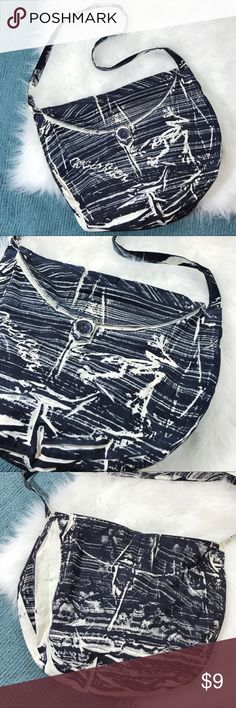 Costa Rica Crossbody Bag Navy and cream Costa Rica Cloth bag. Can be worn as Crossbody or shoulder bag. Button closure. Excellent condition. Bags Crossbody Bags