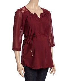 Loving this Wine Lace Maternity Notch Neck Top - Women on #zulily! #zulilyfinds