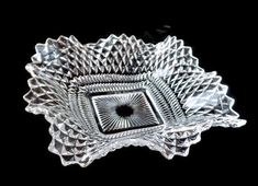 Excited to share the latest addition to my #etsy shop: Diamond Pattern Candy Dish, Crystal Pressed Glass Candy Dish, Square Ruffle Candy Dish, Clear Glass Dish, Trinket Dish, Dresser Dish http://etsy.me/2uf7GXt #housewares #clear #glass #crystalbowl #candydish #glassdi
