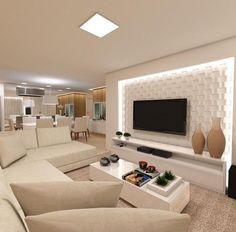 32 Awesome Living Room TV Wall Design Ideas - Home Bestiest Living Room Tv Unit, Home Living Room, Living Room Designs, Living Room Decor, Living Room Modern, Tv Wall Design, Design Case, Tv Unit Design, Sala Grande