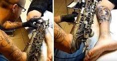 Tattoo Artist Who Lost His Arm Gets World's First Tattoo Machine Prosthesis. He received the world's coolest prosthetic courtesy of French artist JL Gonzal, who modified an existing arm prosthesis to accommodate the tattoo machine. Tiger Eyes, Arm Tattoo, Sleeve Tattoos, Rib Tattoos, Foot Tattoos, Flower Tattoos, Blackwork, Build Outdoor Kitchen, Backyard Kitchen
