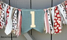 Vintage Baseball Bunting, First Birthday Highchair Banner, Vintage Rag Tie in Red White Blue, Cake Smash Photo Prop, Boy's Baseball Party