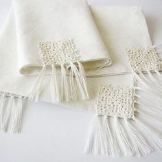 Items similar to Linen table runner OOAK white/ivory color with natural linen yarn crocheted motifs and tassels on Etsy Crochet Motifs, Crochet Stitches, Crochet Patterns, Crochet Towel, Crochet Yarn, Crochet Decoration, Decoration Table, Crochet Bookmarks, Natural Linen