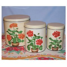 1950s Geranium Kitchen Canisters