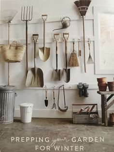 """""""Prepping Your Garden"""" from The Magnolia Journal, Fall Read it on the Texture app-unlimited access to top magazines. Garage Renovation, Garage Makeover, Garage Shed, Garage House, Garage Organisation, Home Organization, Organizing, Garden Shed Interiors, Magnolia Journal"""