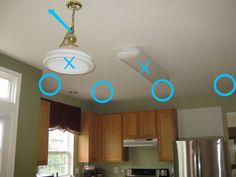 How to install can lights - LOTS  of links to articles from pros. Kitchen lighting plan before recessed lights