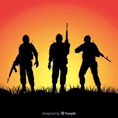 War background with silhouettes of soldiers Free Vector Indian Flag Wallpaper, Indian Army Wallpapers, Silhouette Painting, Silhouette Vector, Indian Army Special Forces, Soldier Drawing, Soldier Silhouette, Army Pics, Independence Day Background